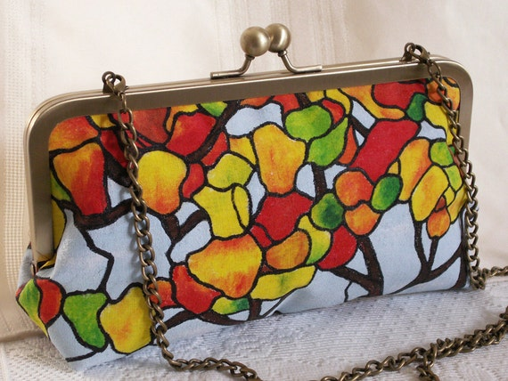 Handmade, hand painted clutch handbag. Orange, green, gold, blue, red, yellow. AUTUMN SYMPHONY by Lella Rae