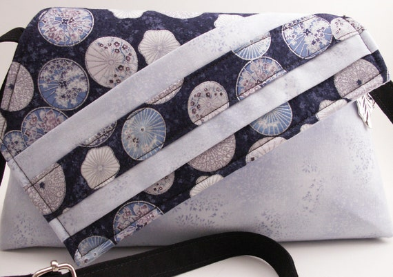 Handmade cotton shoulder bag, handbag. Blue, silver, white, purple. Parasols Artisan Bag by Lella Rae