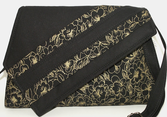 Handmade cotton shoulder bag, handbag. Black, gold. Golden Garden Artisan Bag by Lella Rae