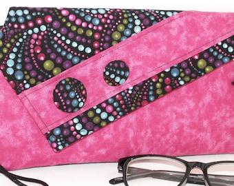 Handmade cotton clutch, shoulder bag. Pink, blue, purple, green, black, turquoise. Eileen Lella's Bag from Lella Rae on Etsy
