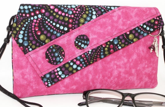 Handmade cotton clutch, shoulder bag. Pink, blue, purple, green, black, turquoise. Eileen Lella's Bag from Lella Rae on Etsy