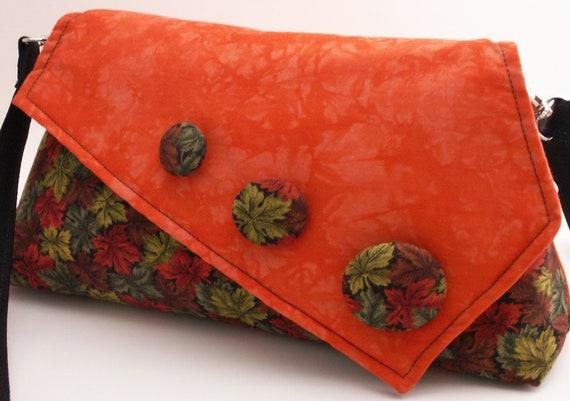 Handmade cotton shoulder bag handbag. Orange, red, green. Autumn Leaves Artisan Bag by Lella Rae