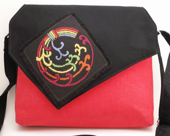 Handmade, hand embroidered shoulder bag, handbag. Red, blue, green, yellow, orange, black. Celtic Pride iBag by Lella Rae on Etsy
