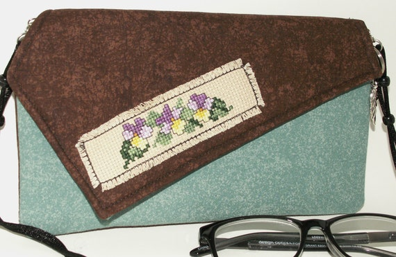 Handmade, hand embroidered, cotton clutch, shoulder bag. Aqua, brown, green, purple yellow. Shy Pansies Lella's Bag by Lella Rae on Etsy