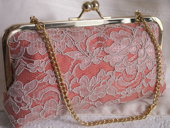 Handmade silk, lace clutch handbag. Peach, coral, cream. PEACHES AND CREAM by Lella Rae