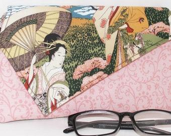 Handmade cotton clutch, shoulder bag. Pink, black, brown, green, beige, white. Geisha Lella's Bag by Lella Rae on Etsy