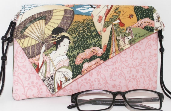Handmade cotton clutch, shoulder bag. Pink, black, brown, green, beige, white. Geisha Lella's Bag by Lella Rae on Etsy