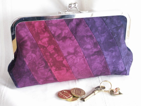 Handmade, hand dyed, patchwork clutch. Purple, magenta, blue. SUNSET GLORY by Lella Rae