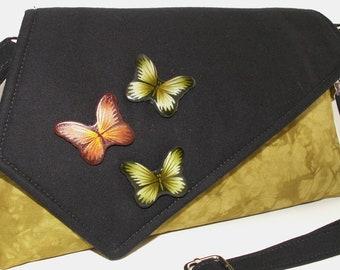 Handmade bead embellished cotton shoulder bag, handbag. Green, orange, black. Green Butterflies Artisan Bag by Lella Rae on Etsy
