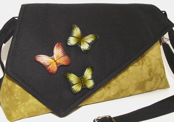Handmade bead embellished cotton shoulder bag, handbag. Green, orange, black. Green Butterflies Artisan Bag by Lella Rae