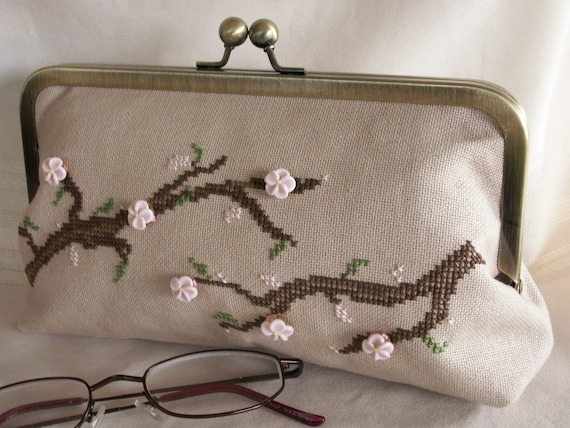 Handmade, hand cross stitched, beaded evening clutch. Pink hand sculpted glass flowers. SAKURA by Lella Rae