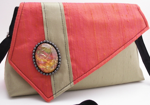 Handmade silk shoulder bag, handbag. Orange, green, black. Black Pearls Artisan Bag by Lella Rae on Etsy