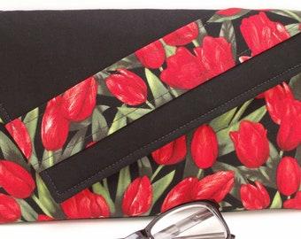 Handmade cotton clutch, shoulder bag. Red, black, green. Red Tulips Lella's Bag by Lella Rae on Etsy
