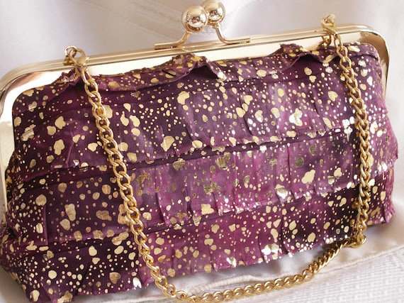 Handmade shoulder bag, clutch handbag. Magenta, gray, gold, ruffles. LOVE by Lella Rae
