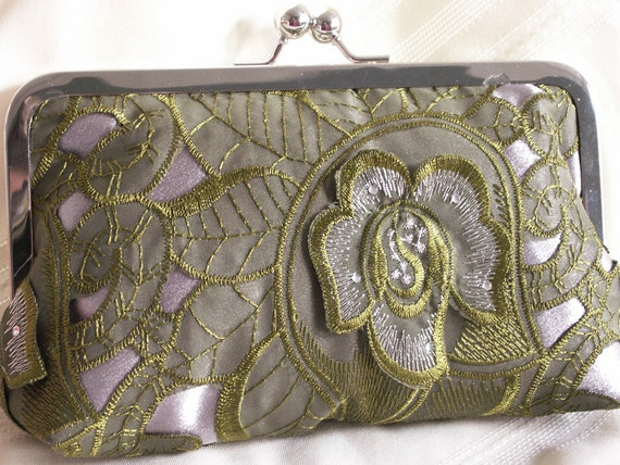 Handmade, lace, satin clutch handbag. Green, silver. SPRING LACE by Lella Rae