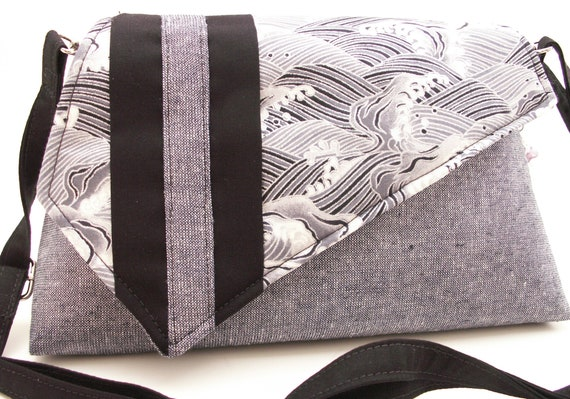 Handmade cotton shoulder bag handbag. Black, silver, gray. Winter Sea Artisan Bag by Lella Rae on Etsy