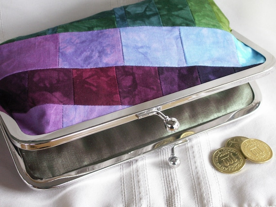 Handmade, hand dyed, patchwork clutch. Purple, aqua, green, magenta. ASYMMETRY by Lella Rae