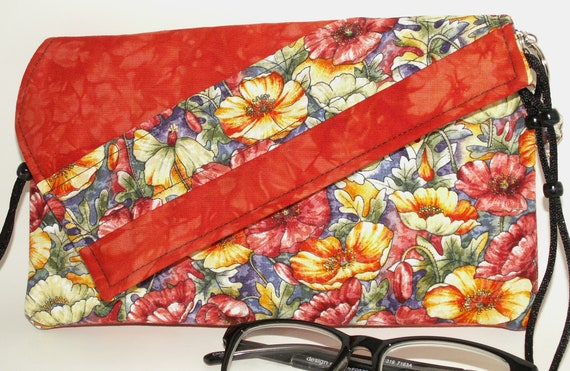 Handmade cotton clutch, shoulder bag. Orange, red, yellow, green, white. Field Poppies Lella's Bag by Lella Rae on Etsy