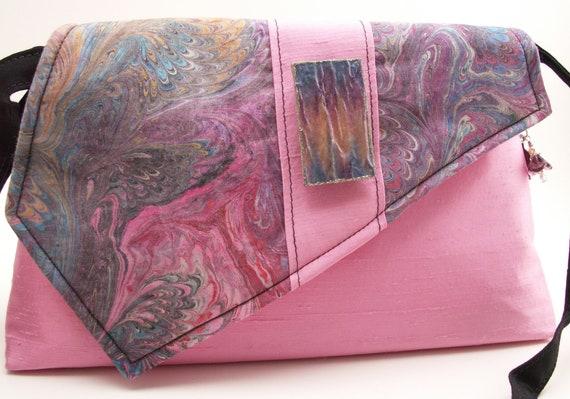 Handmade cotton shoulder bag, handbg. Pink blue, black, purple, blue, gold, green, yellow. Pink Marble Artisan Bag by Lella Rae on Etsy