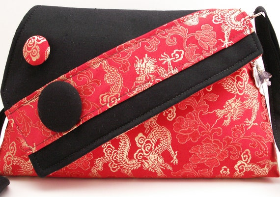 Handmade, brocade, cotton shoulder bag, handbag. Red, gold, black. Golden Dragon Artisan Bag by Lella Rae