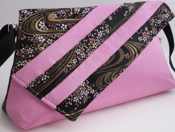 Handmade silk, cotton shoulderbag handbag. Pink, black, gold, white. Cherry River Artisan Bag by Lella Rae