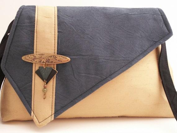 Handmade silk, cotton shoulder bag, clutch handbag. Teal, gold. Vintage pin. Elegance Artisan Bag by Lella Rae on Etsy