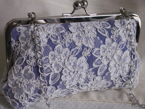 Handmade silk, Alencon lace clutch handbag. Blue, ivory, lavender. EVENING SKY by Lella Rae