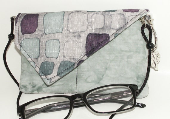 Handmade cotton shoulder bag, handbag. Purple, aqua, black. City Lights Mini Bag by Lella Rae on Etsy