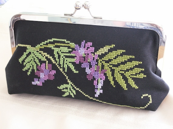 Handmade, hand embroidered clutch handbag. Purple, green. WISTERIA GARDEN by Lella Rae
