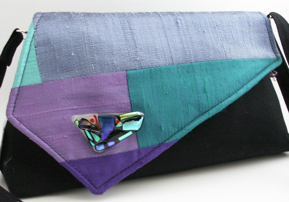Handmade, silk, cotton shoulder bag, handbag. Purple, blue, lilac, aqua, green. Patchwork Crazy Artisan Bag by Lella Rae on Etsy