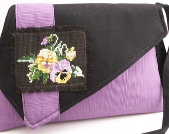 Handmade hand embroidered, cotton shoulder bag, handbag. Purple, yellow, brown, black, green. Sweet Pansies Artisan Bag by Lella Rae on Etsy