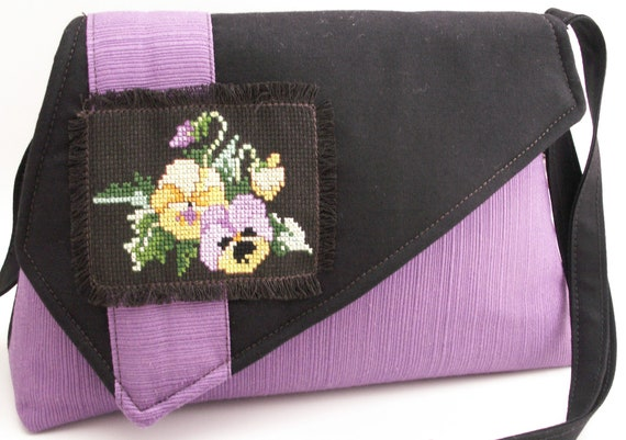 Handmade hand embroidered, cotton shoulder bag, handbag. Purple, yellow, brown, black, green. Sweet Pansies Artisan Bag by Lella Rae