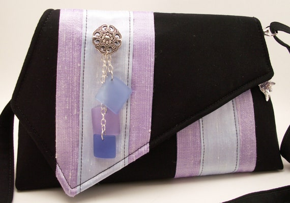 Handmade silk, cotton shoulderbag, handbag. Lavender, blue, black. Sherbet Artisan Bag by Lella Rae on Etsy