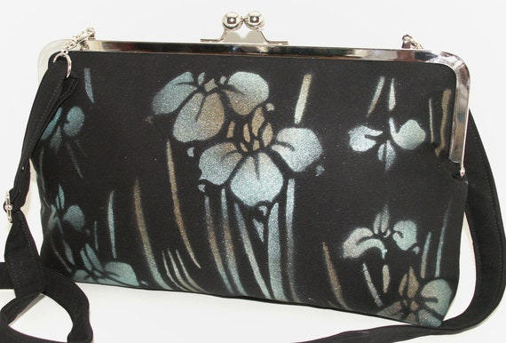 Handmade handpainted cotton shoulderbag, handbag. Silver, aqua, black, cream. IRIS Celebrity Shoulder Bag by Lella Rae on Etsy