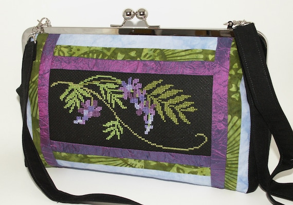 Handmade, hand embroidered cotton, silk hand bag. Purple, green, blue, black. WISTERIA Celebrity Shoulder Bag by Lella Rae on Etsy