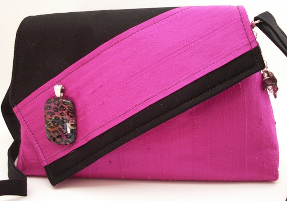 Handmade silk, cotton shoulder bag, handbag. Magenta, black. Lipstick Artisan Bag by Lella Rae on Etsy