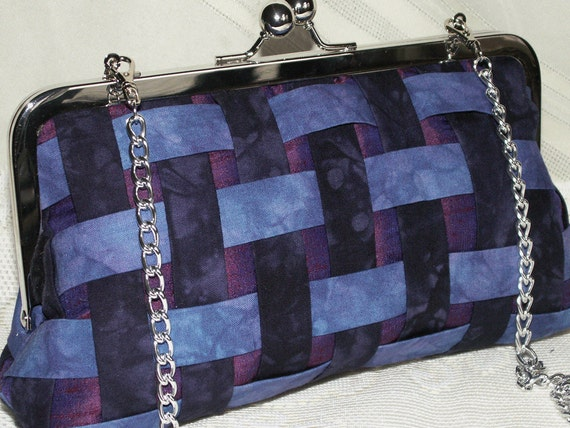 Handmade hand dyed cotton, silk clutch handbag. Blue, purple. BASKETWEAVE by Lella Rae