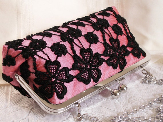 Handmade lace embellished silk clutch handbag. Pink, black. SHADOW by Lella Rae