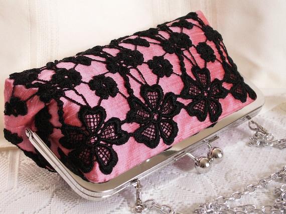 Handmade lace embellished silk clutch handbag. Pink, black. SHADOW by Lella Rae on Etsy