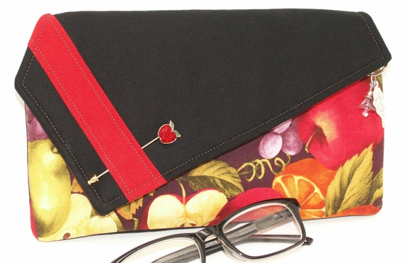 Handmade cotton clutch, shoulderbag. Red, yellow, green, purple, black. Abundance Lella's Bag by Lella Rae on Etsy