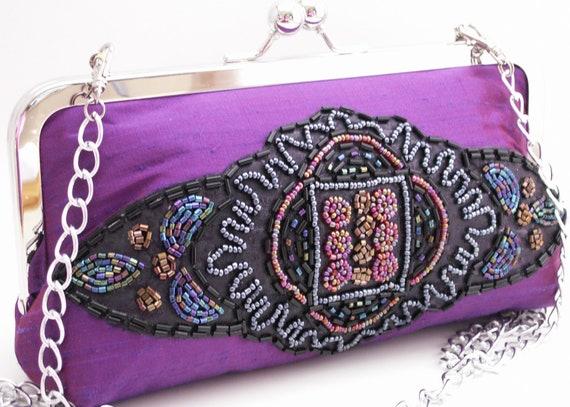 Handmade, beaded clutch handbag, shoulder bag. Silk, beads. SUN GODDESS clutch by Lella Rae