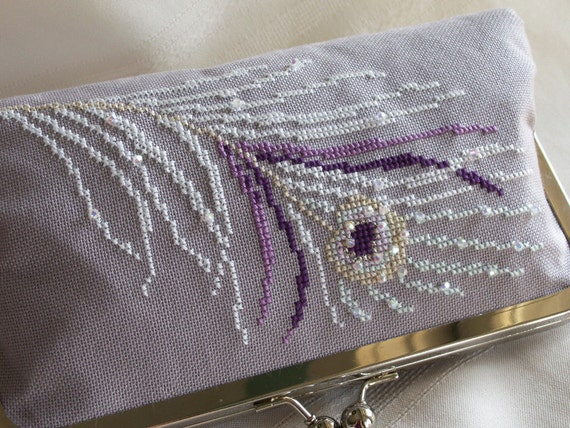 Handmade, hand cross stitched, beaded peacock clutch handbag. Purple, white, lavender. WHITE PEACOCK by Lella Rae