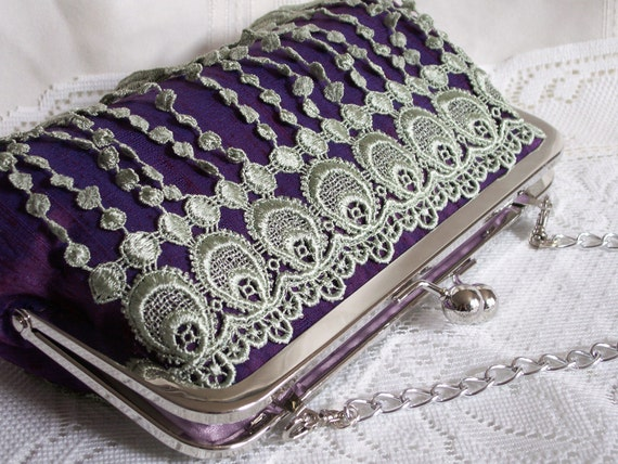 Handmade lace embellished silk shoulderbag, clutch handbag. Purple, blue, green. DANCE by Lella Rae