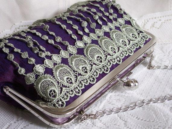 Handmade lace embellished silk shoulderbag, clutch handbag. Purple, blue, green. DANCE by Lella Rae on Etsy