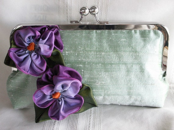 Handmade silk clutch handbag. Purple, mint green. PANSIES and  MINT by Lella Rae