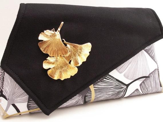 Handmade cotton shoulderbag, handbag. Black, white, gold. Ginkgo Gold Artisan Bag by Lella Rae on Etsy
