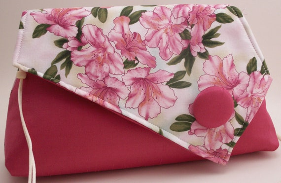 Handmade cotton, silk shoulder bag, handbag. Pink, white, green. Azaleas Artisan Bag by Lella Rae
