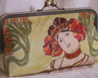 Hand painted, handmade clutch handbag. Alphonse Mucha. Red, orange, green, gold, brown.  L'AUTOMNE by Lella Rae on Etsy