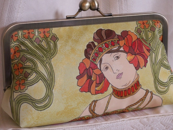 Hand painted, handmade clutch handbag. Alphonse Mucha. Red, orange, green, gold, brown.  L'AUTOMNE by Lella Rae