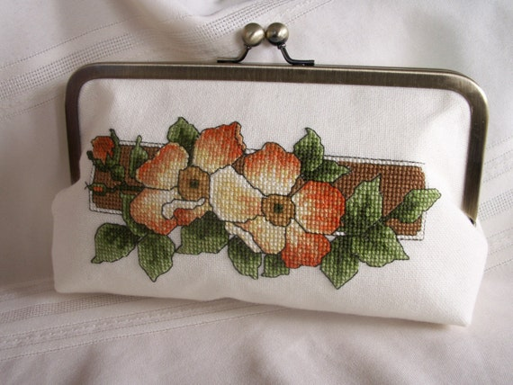 Hand embroidered clutch. Orange, coral, cream wild roses. CAROLS ROSE by Lella Rae